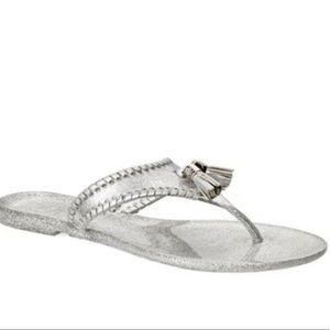 Jack Rogers Alana jelly silver flip flops